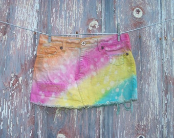Size 4 Rainbow Dyed and Bleached DIY Jean Skirt Misses OOAK