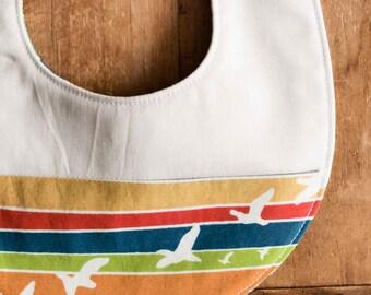 Sale, Save 25% Organic Baby Bib in FLIGHT STRIPE; Modern Stripes, Birds Bib Gift for Newborn Baby; Handmade in Canada; Colourful Drool Bib
