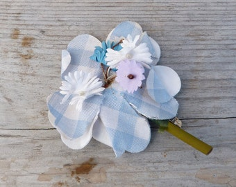 Vintage 1920/1930 French old  cotton  soft blue gingham millinery flower brooch