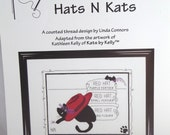 Hats N Kats, Cross Stitch Pattern, Red Hat, Purple Feather, Cat Paw, Calico Crossroads, Kathleen Kelly, Sewing Pattern,Cat Pattern,Gift Idea