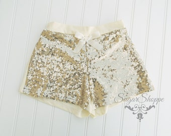 Gold, Sequin Shorts, Baby Girls, Sparkly Birthday Outfit, Photo Shoot, Smash Session, Toddler, Pageant, Super Fun Chic Girls Shorts,