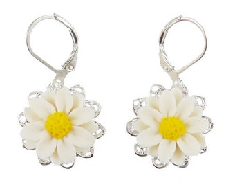 Daisy Filigree Earrings - Daisy Vintage Style Earrings, Daisy Jewelry