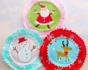 Fabric Holiday Christmas Embellishments Appliques Set of Three
