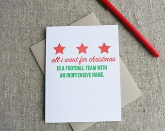 Letterpress Christmas Card - Local Love DC Inoffensive Football Team Name