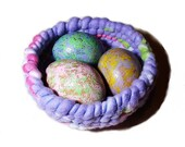 Soft Fleece Basket Colorful Egg Gourds Coiled Basket Pastel Easter Decor Lavender Pink Multi Cottage Chic Bowl Purple Fiber Basket Nest Eggs