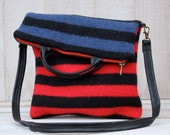 Striped Wool Fold Over Purse Cross Body Bag Stripe Wool Bag in Blue Red and Black Large Size