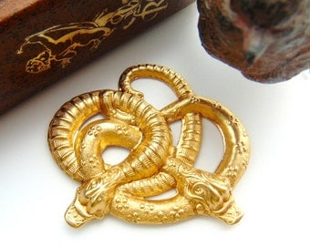 BRASS (2 Pieces) Entwined Garden SNAKE - Snakes Stampings - Jewelry Ornament Findings (FB-6085) #