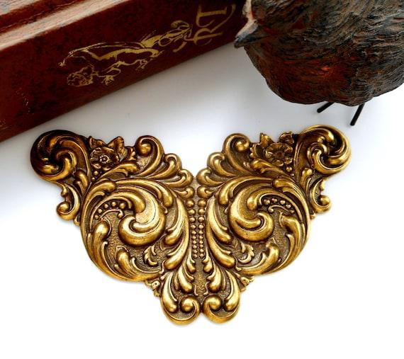 Antique Scroll Art: ANTIQUE BRASS Art Nouveau Scroll Cartouche Stampings Jewelry