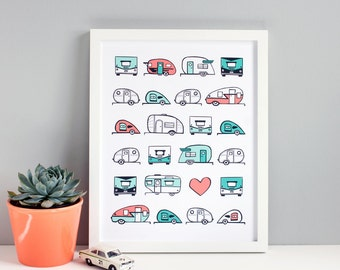 Travel Trailer Decor / Airstream Trailer / Teardrop Trailer / Giclee Art Print / Art for Kids Room / 11x14 Print / Teal and Coral