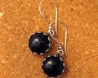 Fused Glass Earrings - Bezel Set Earrings - Dangle Earrings - Blue Earrings - Fused Glass Jewelry