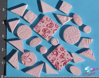 Do - Dads, Filer Tiles  Pink -  Kiln Fired Hand Paint Handmade Tiles for your Mosaic Designs M1884