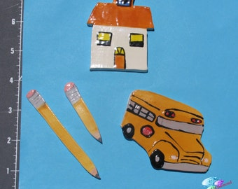 School, Bus, Pencils - Handmade Kiln Fired Ceramic Mosaic Tiles you can use in your design  M2036