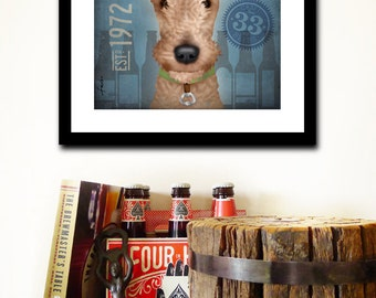 Lakeland Terrier Brewing company dog graphic art illustration giclee archival signed print by stephen fowler Pick A Size