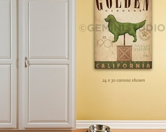 Dog Topiary garden illustration graphic art on gallery wrapped canvas by stephen fowler Choose your Breed