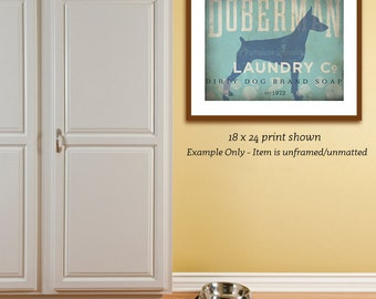 Doberman dog laundry company laundry room artwork giclee archival signed artists print Pick A Size