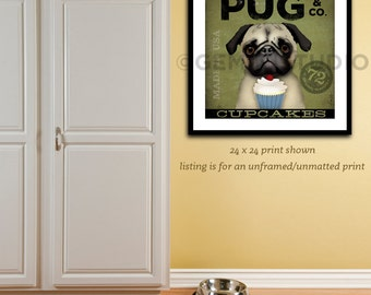 Pug Cupcake company dog baking illustration giclee signed artists print by stephen fowler geministudio Pick A Size