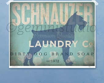 Schnauzer dog laundry company laundry room artwork giclee archival signed artists print Pick A Size