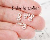 100 4.5x1mm Daisy Spacers Shiny Silver Small Flat Flower Beads Ball Beads