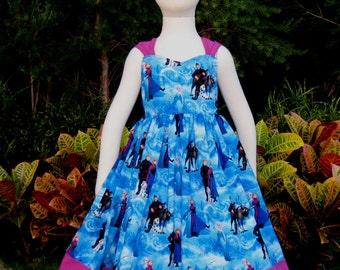 Enchanted Girl Dress Made With Frozen Fabric, Girl Dress, Birthday Girl Dress