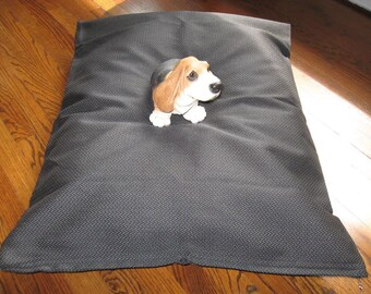 00003 BLACK SNIPPET  --  Extra Strong and Durable dog bed cover.  Hand Made in USA by toughdogbed