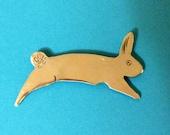 Jumping Rabbit Sterling Silver Pin