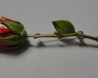 Vintage Pink Rosebud Metal Brooch