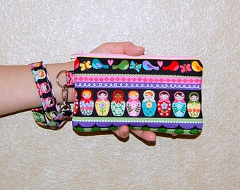 Matryoshka Stripe - Wristlet Purse with Removable Strap and Interior Pocket