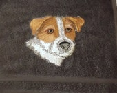 Jack Russell Terrier Dog Embroidered Bath Towel