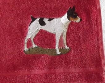 Rat Terrier Dog Embroidered Bath Towel