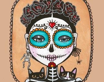 Day of the Dead Girl & Cats - Folk Art PRINT 8x8, 10x10, 12x12