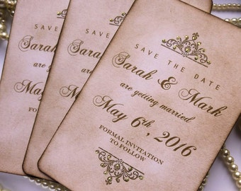 Save The Dates, Wedding Save The Dates, Luxury Save the Date, Gold Wedding Invitations, Save The Dates with Glitter, Vintage Save the Dates