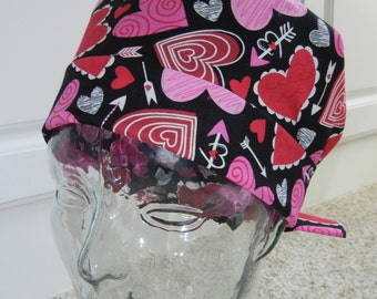 Tie Back Surgical Scrub Hat with Valentine Hearts Arrows
