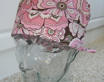 Tie Back Surgical Scrub Hat in Cotton Candy