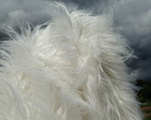 Cloud Dancer - Super long and silky soft 100mm pile white synthetic mongolian faux fur fabric -1/4m