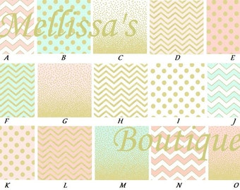 Custom Blush Pink/Coral & Mint Gold Metallic Chevron Dots Boutique Designer Crib Sheet or Changing Pad Cover CHOOSE and CUSTOMIZE
