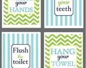 Kids Bathroom Art - Wash Your Hands, Brush Your Teeth, Hang your Towel,  Flush the Toilet - Chevron - Monogram - S