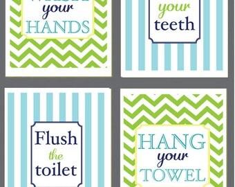 Kids Bathroom Art - Wash Your Hands, Brush Your Teeth, Hang your Towel,  Flush the Toilet - Chevron - Monogram