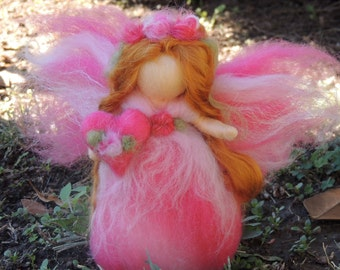 Valentine Pink Flower Fairy with her Heart-  Needle felted wool fairy angel Waldorf inspired by Rebecca Varon