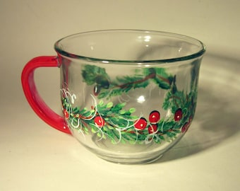 Winter Floral Hand Painted Tea Cup
