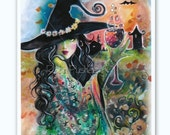 Diva Witch and Goblet, 8x10 Colorful Art Print, created from original Painting