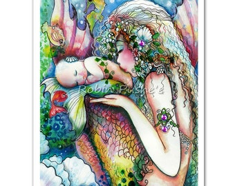 Mother and Child Mermaids, Colorful , 7x10 PRINT from original