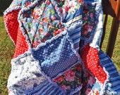 Rag Quilt, Rose Bouquet Rag Lap Quilt, Red, Blue, Pink, White, Flowers, Stripes, Paisley, Polka Dots, Large Lap Quilt