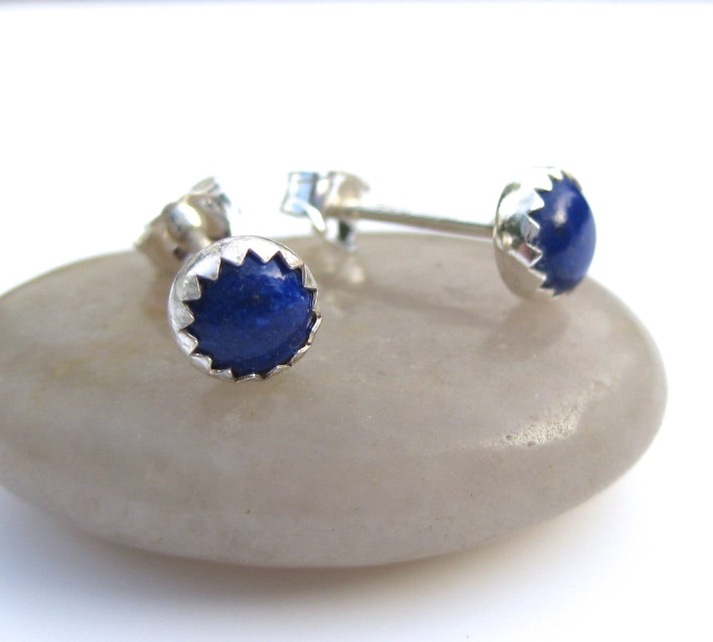 blue lapis stud earrings blue studs blue lapis earrings