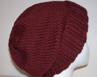 Wool Ski Hat - Slouchy Knit Beanie - Knitted Hipster Toque - Brick Road
