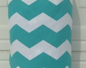 Turquoise and White Chevron Print / Grocery Bag Holder