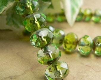 Green Czech Glass Rondell Bead Aqua Peridot Picasso 6x8mm Fire Polished (12)