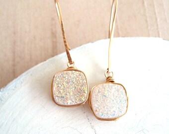 Druzy Earrings White Druzy dangles Drusy jewelry Wedding earrings Bridal Under 75