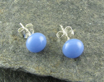 Periwinkle Blue Stud Earrings / Handmade Glass Jewelry / Small Casual Stud Earrings