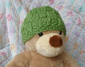 Baby Hat Hand Knit Organic Cotton Spring Green