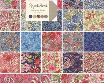 "Moda REGENT STREET Precut 5"" Charm Pack Fabric Quilting Cotton Squares Sentimental Studios 32930PP"